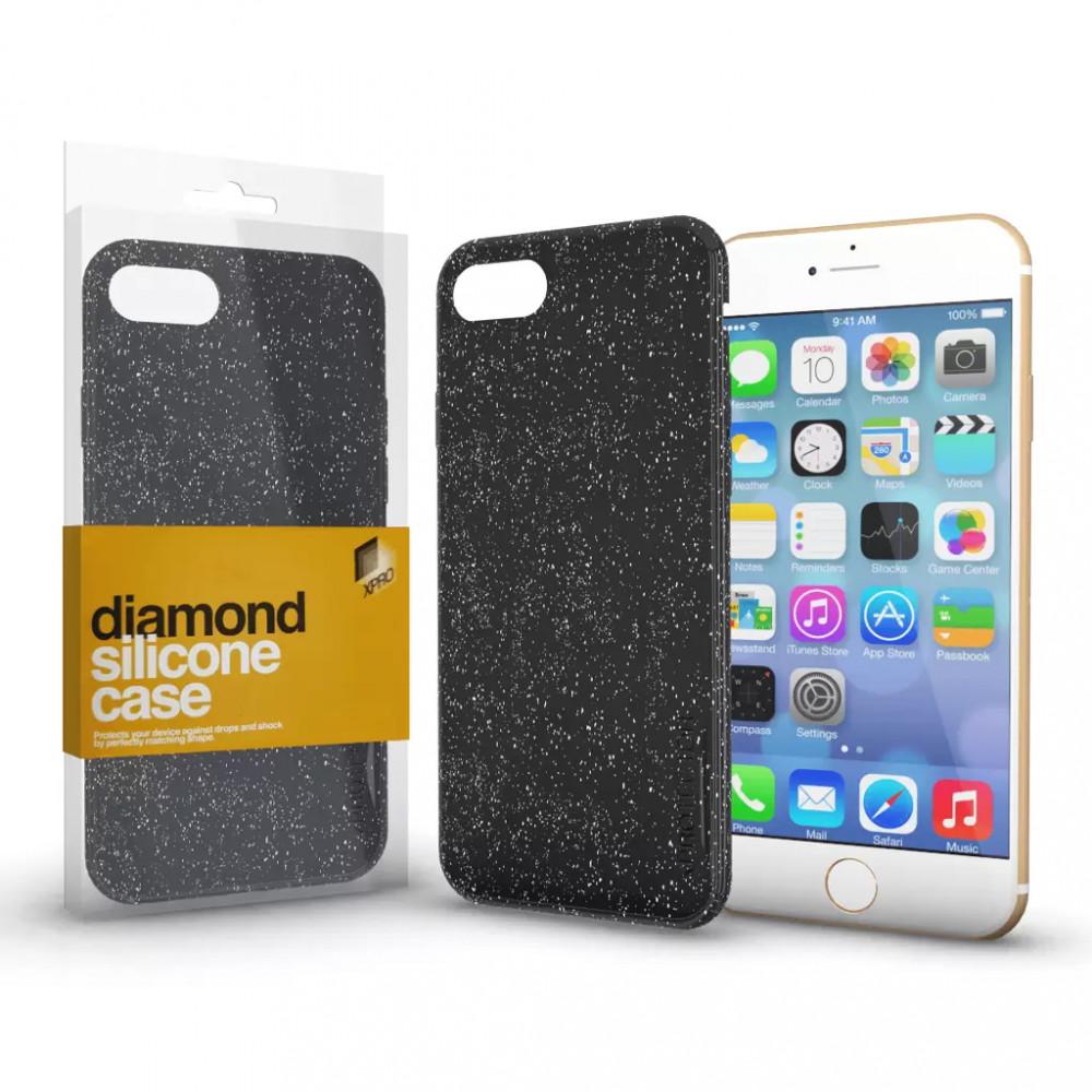 Szilikon tok (Diamond) Fekete Samsung S10+ készülékhez