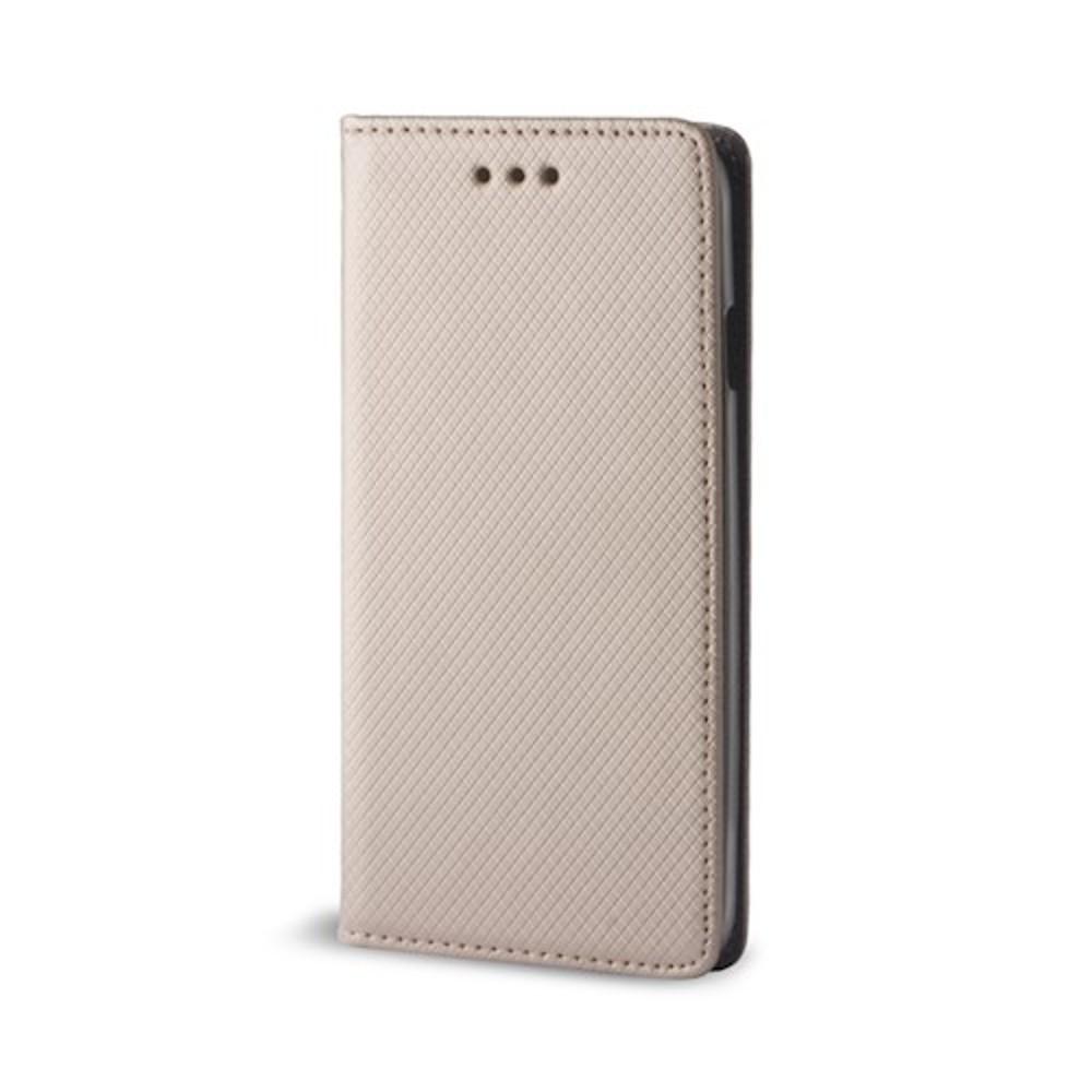 Smart magnet Huawei P40 Lite E oldalra nyíló mágneses könyv tok szilikon belsővel arany
